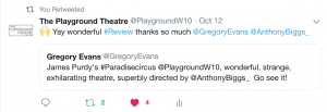 Gregory Evans playwright review
