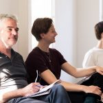 The Paradise Circus comes alive in rehearsals Mark Aiken Joshua Ward Sam Coulson take a break photo by Scott Rylander